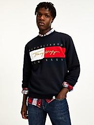 타미 힐피거 맨 시그니처 맨투맨 - 네이비 Tommy Hilfiger Organic Cotton Signature Sweatshirt mw16756