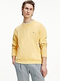 타미 힐피거 오가닉 코튼 스웨터 - 옐로우 Tommy Hilfiger Organic Cotton Tipped Crewneck Sweater, mw17349