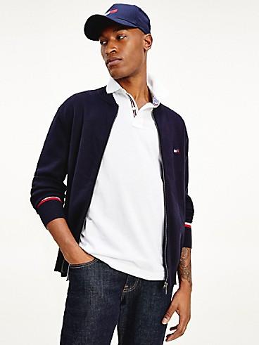 타미 힐피거 집업 베이스볼 스웨터 Tommy Hilfiger Organic Cotton Zip Baseball Sweater, NAVY