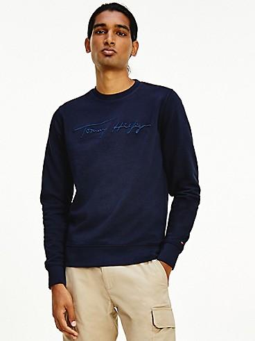 타미 힐피거 맨 맨투맨 Tommy Hilfiger Organic Cotton Signature Sweatshirt,desert sky