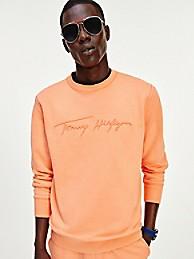 타미 힐피거 맨 맨투맨 Tommy Hilfiger Organic Cotton Signature Sweatshirt,summer sunset