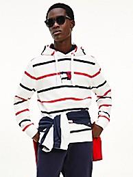 타미 힐피거 맨 웨이비 플래그 스트라이프 후드티 Tommy Hilfiger Organic Cotton Wavy Flag Stripe Hoodie,ecru/desert sky/primary red