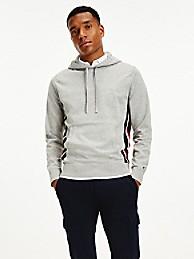 타미 힐피거 맨 후드티 Tommy Hilfiger Organic Cotton Signature Stripe Sweater Hoodie,LIGHT GREY HEATHER