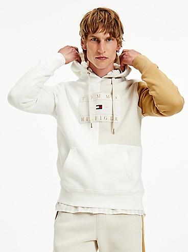 타미 힐피거 맨 후드티 Tommy Hilfiger Icon Organic Cotton Colorblock Hoodie,WHITE/BEIGE MULTI
