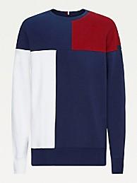 타미 힐피거 맨 맨투맨 Tommy Hilfiger Organic Cotton Colorblock Sweatshirt,regatta red/desert sky/white