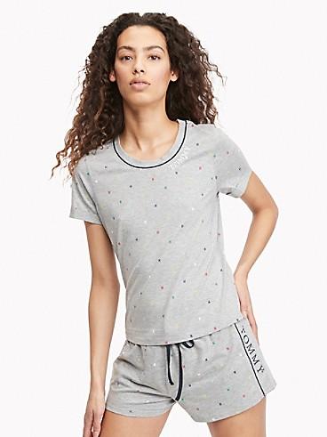 타미 힐피거 Tommy Hilfiger Tommy H Sleep T-Shirt,GREY DOT