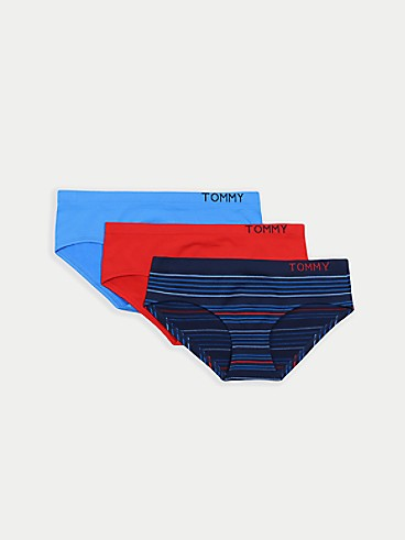 타미 힐피거 Tommy Hilfiger Seamless Mix Logo Hipster 3PK,BLUE/ RED/ NAVY STRIPE