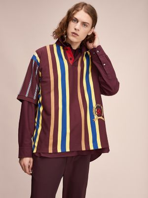 Men\\\'s Hilfiger Collection Stripe Polo, Port Royal / Vibrant Yellow / Multi, - Tommy Hilfiger men\\\'s polo. Our oversized polo gets the royal treatment with heritage crest embroidery. A limited-edition style from Hilfiger Collection.
