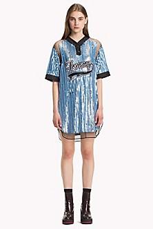 Sequined Baseball Shirt Dress