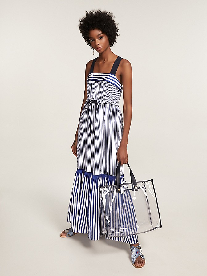 Pure Cotton Striped Tie Maxi Dress