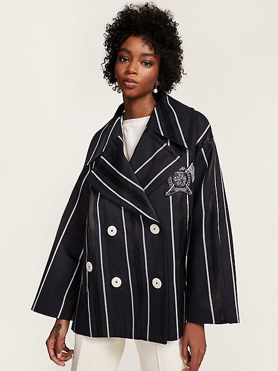 Crest Stripe Double Ted Oversized, Tommy Hilfiger Peacoat Women S