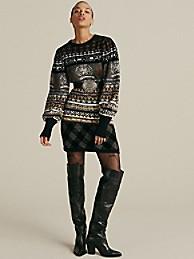 타미 힐피거 Hilfiger Collection Metallic Intarsia Sweater,METEORITE INTARSIA