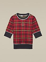 타미 힐피거 Hilfiger Collection Tartan Jacquard Sweater,TRUE RED TARTAN PLAID