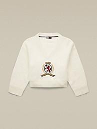 타미 힐피거 Hilfiger Collection Fluffy Crest Sweater,SNOW WHITE