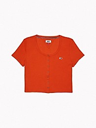 Ribbed Snap-Front T-Shirt   Tommy Hilfiger