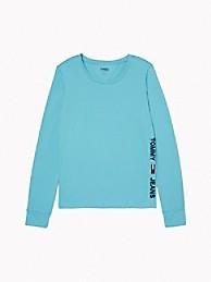 타미 진스 TOMMY JEANS Long-Sleeve Side Logo T-Shirt,AQUARELLE