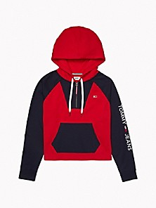 타미 진스 TOMMY JEANS Colorblock Hoodie,RED