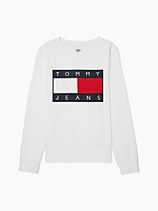 타미 진스 TOMMY JEANS Flag Sweatshirt,BRIGHT WHITE