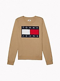 타미 진스 TOMMY JEANS Flag Sweatshirt,CREAM