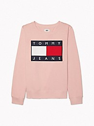 타미 진스 TOMMY JEANS Flag Sweatshirt,BRIDAL ROSE