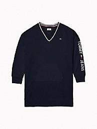 타미 힐피거 브이넥 원피스 Tommy Hilfiger V-Neck Sweatshirt Dress,SKY CAPTAIN