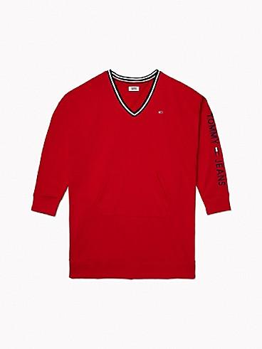 타미 힐피거 브이넥 원피스 Tommy Hilfiger V-Neck Sweatshirt Dress,SCARLET