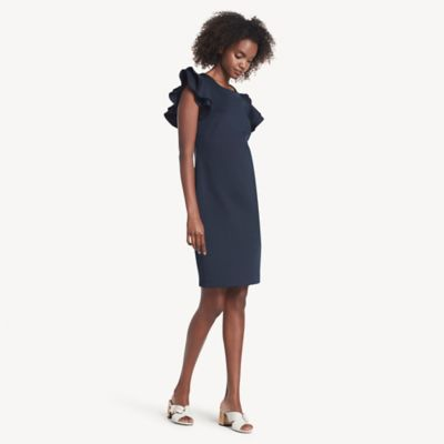 Women\\\'s Essential Ruffle-Sleeve Dress, Sky Captain, - Tommy Hilfiger women\\\'s dress. Flirty ruffle sleeves adds new life to a simple dress silhouette. Made from comfortable stretch fabric that always looks fresh and feels comfortable.