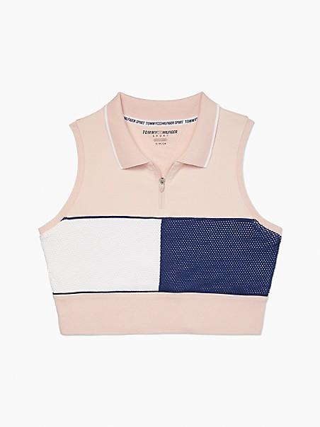 타미 힐피거 폴로 셔츠 Tommy Hilfiger Essential Cropped Sleeveless Polo,rose water