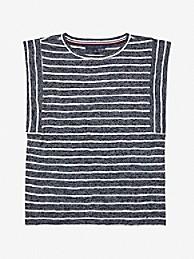 타미 힐피거 민소매티 Tommy Hilfiger Essential Stripe Slub Knit Top,navy/ white