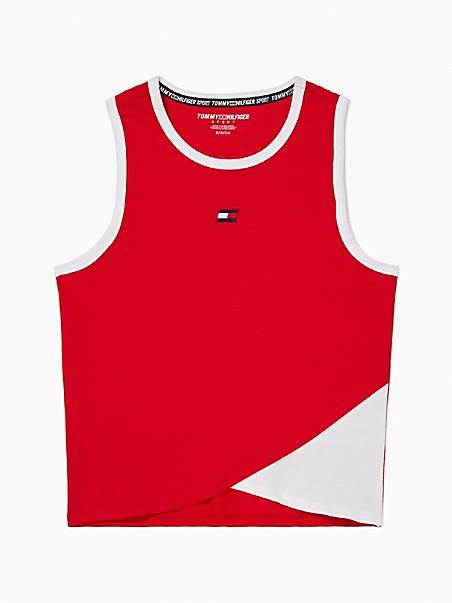 타미 힐피거 민소매티 Tommy Hilfiger Essential Cropped Tank,red