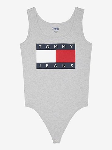 타미 진스 TOMMY JEANS Classic Flag Bodysuit,black