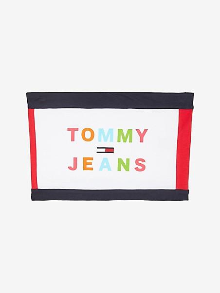 타미 진스 튜브탑 TOMMY JEANS Colorful Logo Tube Top,red