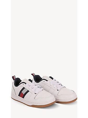타미 힐피거 키즈 스니커즈 Tommy Hilfiger TH Kids Icon Stripe Sneaker,WHITE/CORP STRIPE