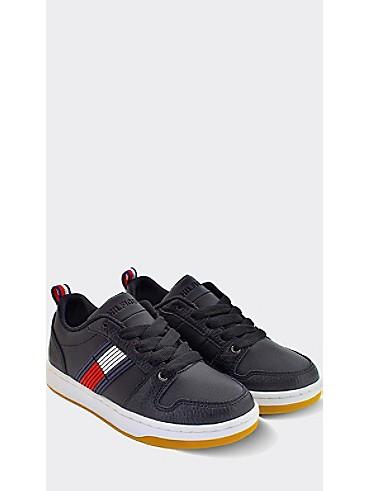 타미 힐피거 키즈 스니커즈 Tommy Hilfiger TH Kids Black Icon Sneaker,BLACK/CORP STRIPE