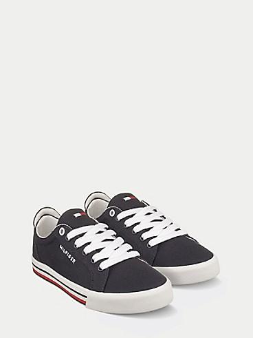 타미 힐피거 키즈 스니커즈 Tommy Hilfiger TH Kids Black Canvas Retro Sneaker,NAVY