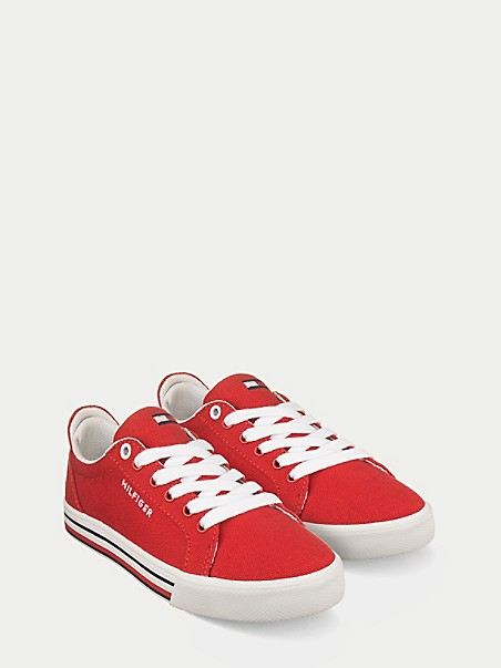 TOMMY HILFIGER TH Kids Red Canvas Retro Sneaker