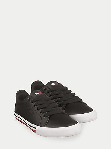 타미 힐피거 키즈 스니커즈 Tommy Hilfiger TH Kids Black Retro Sneaker,BLACK