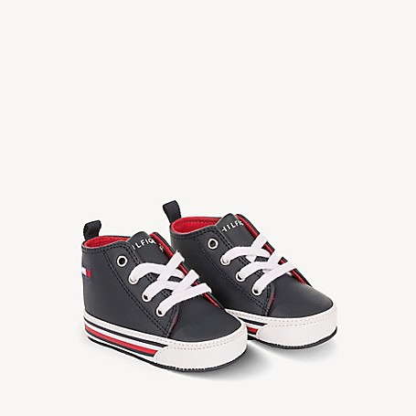 Tommy Hilfiger Baby Icon Sneaker, White/Navy - 0 L