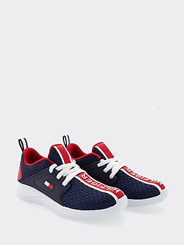 타미 힐피거 키즈 스니커즈 Tommy Hilfiger TH Kids Signature Sneaker,NAVY/RED