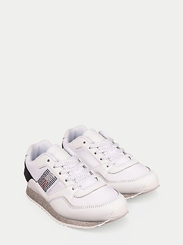 타미 힐피거 키즈 스니커즈 Tommy Hilfiger TH Kids Sparkle Logo Sneaker,WHITE / NAVY / SILVER