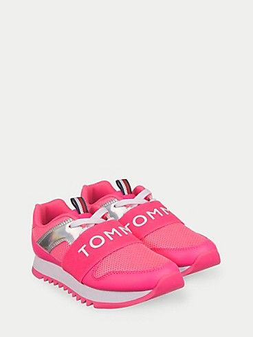 타미 힐피거 키즈 스니커즈 Tommy Hilfiger TH Kids Metallic Logo Sneaker,NEON PINK