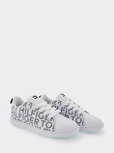 타미 힐피거 키즈 스니커즈 Tommy Hilfiger TH Kids White Logo Sneaker,MULTI