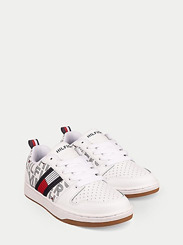 타미 힐피거 키즈 스니커즈 Tommy Hilfiger TH Kids Logo Flag Sneaker,WHITE