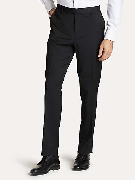 TOMMY HILFIGER Regular Fit Suit Pant In Black Twill