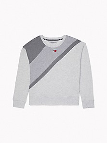 타미 힐피거 Tommy Hilfiger Essential Cropped Colorblock Sweatshirt,WHITE STONE HEATHER