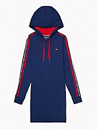 타미 힐피거 Tommy Hilfiger Essential Logo Tape Hoodie Dress,DEEP BLUE