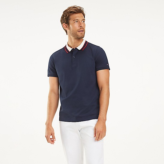 5ac80954 Mercerized Cotton Stripe Collar Polo | Tommy Hilfiger