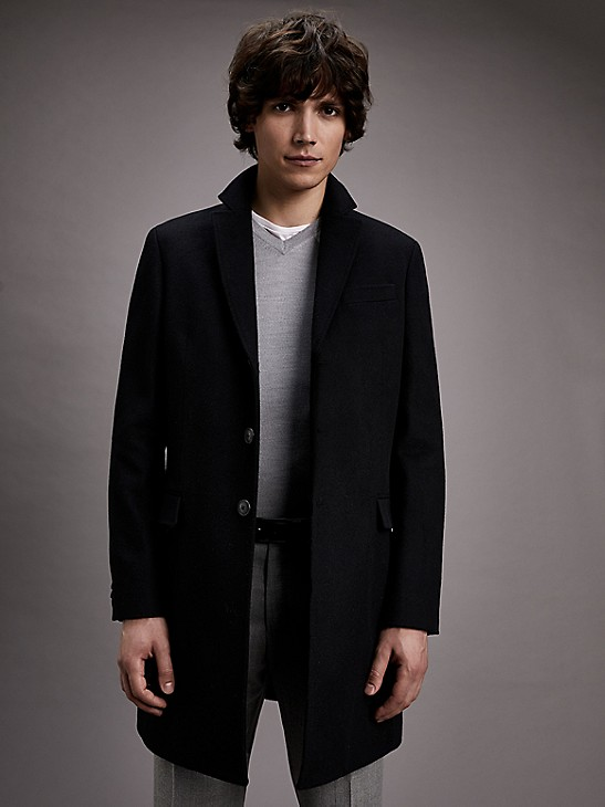 Wool Overcoat Tommy Hilfiger, Tommy Hilfiger Peacoat With Scarf