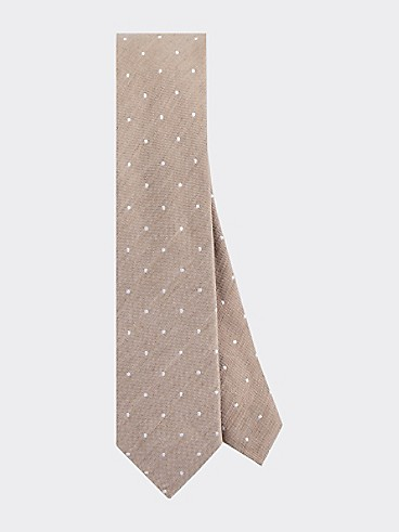타미 힐피거 실크 린넨 넥타이 TOMMY HILFIGER TAILORED Slim Width Silk & Linen Dot Tie,SAND/WHITE