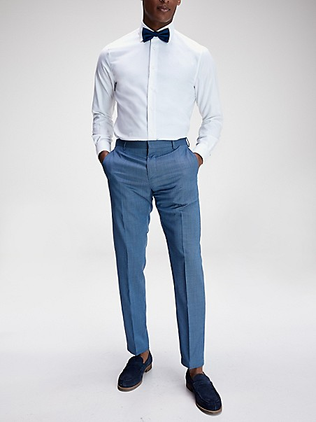 타미 힐피거 바지 TOMMY HILFIGER TAILORED Slim Fit Virgin Wool Trouser,LIGHT BLUE/NAVY